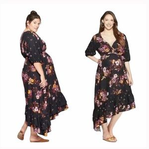 Isabel Maternity | Floral Asymmetrical Dress XS